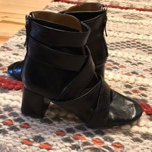Zara black Block Chunky Booties like Loq